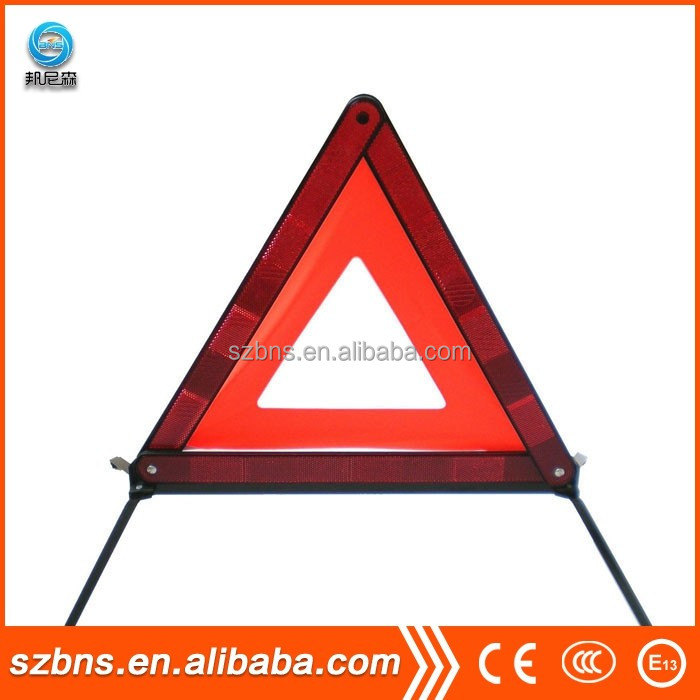 Folding Emergency Warning Safety Triangle Traffic Sign Red for Auto