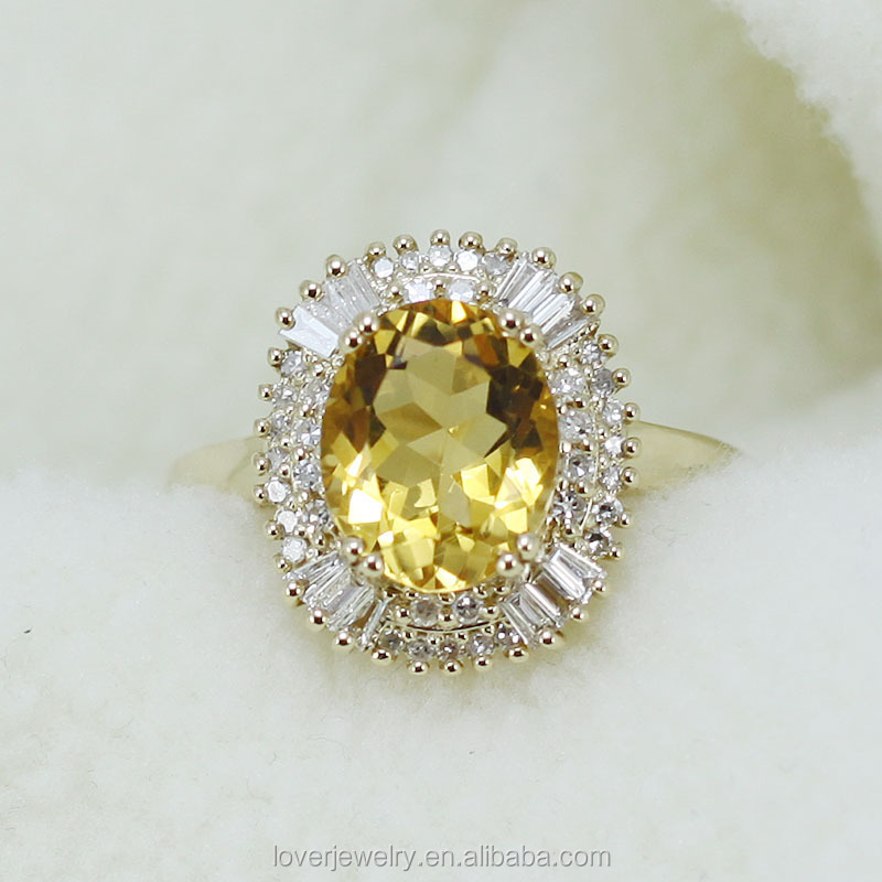Big Oval 9x11mm 14kt Yellow Gold Diamond Yellow Citrine