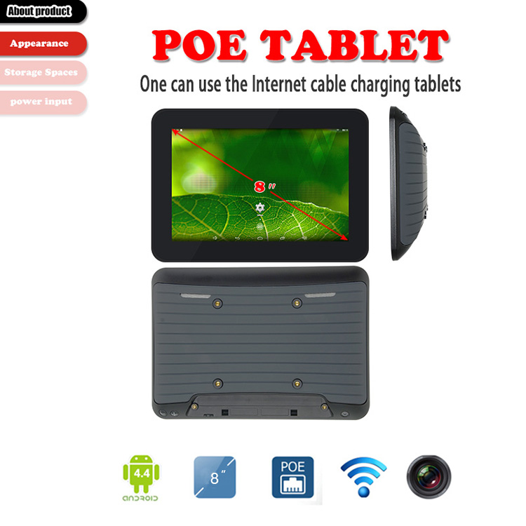 Professional 8 Inch IPS Touch Screen Rj45 POE Android 5.1 In Wall POE Tablet