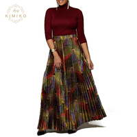 New Design Totem Print Pleated High Waist Maxi African Skirt