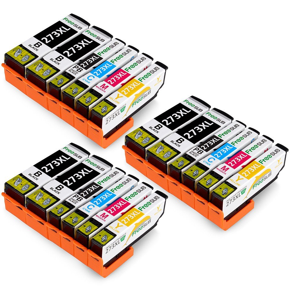 FreeSUB Remanufactured Ink Cartridge Replacement for Epson 273 Ink Cartridges, 3Set+3Black High Yield Compatible with Epson Expression Premium XP-520 XP-800 XP-600 XP-610 XP-620 XP-820 XP-810 Printer
