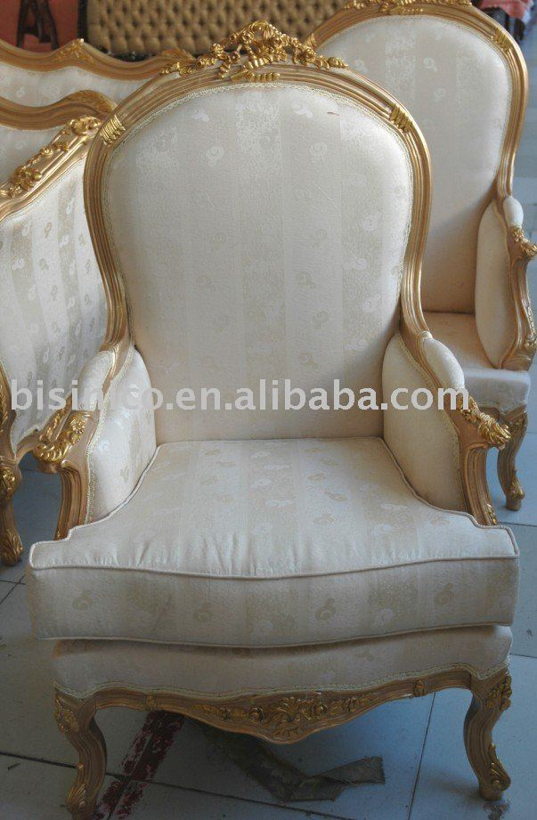 Miraculous Classical Living Room Single Sofa Wing Chairs Arm Chairs White Gold Color Wooden Frame Moq 1Pc B9045 View Single Sofa Bisini Product Details Gamerscity Chair Design For Home Gamerscityorg