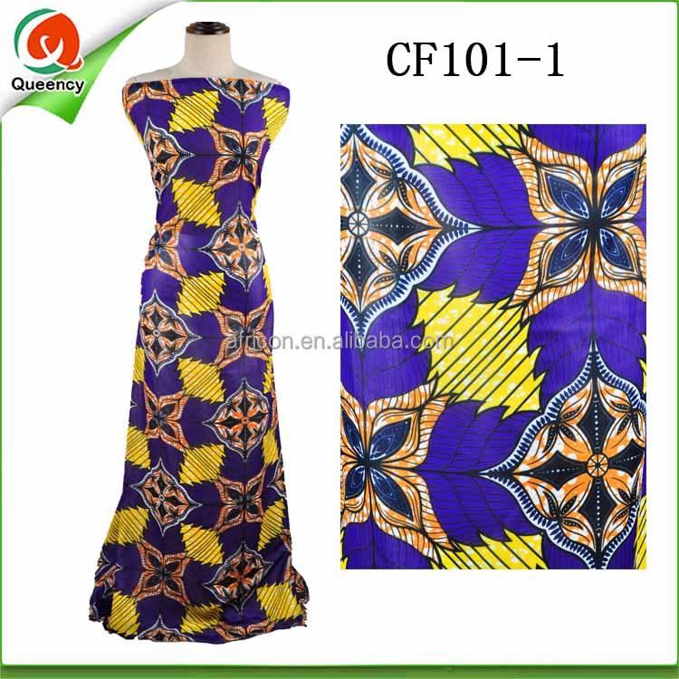 CF101 Queency Hot Sale Ankara Style Printed Pure Silk Georgette Chiffon Fabric for African Women Dress