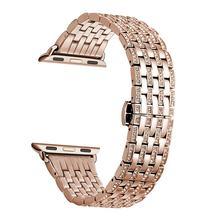 Роскошные Стразы, бриллиантовый ремешок для apple watch 44 мм 42 мм 40 мм 38 мм металлический ремешок из нержавеющей стали для iWatch серии 5 4 3 2 1(Китай)
