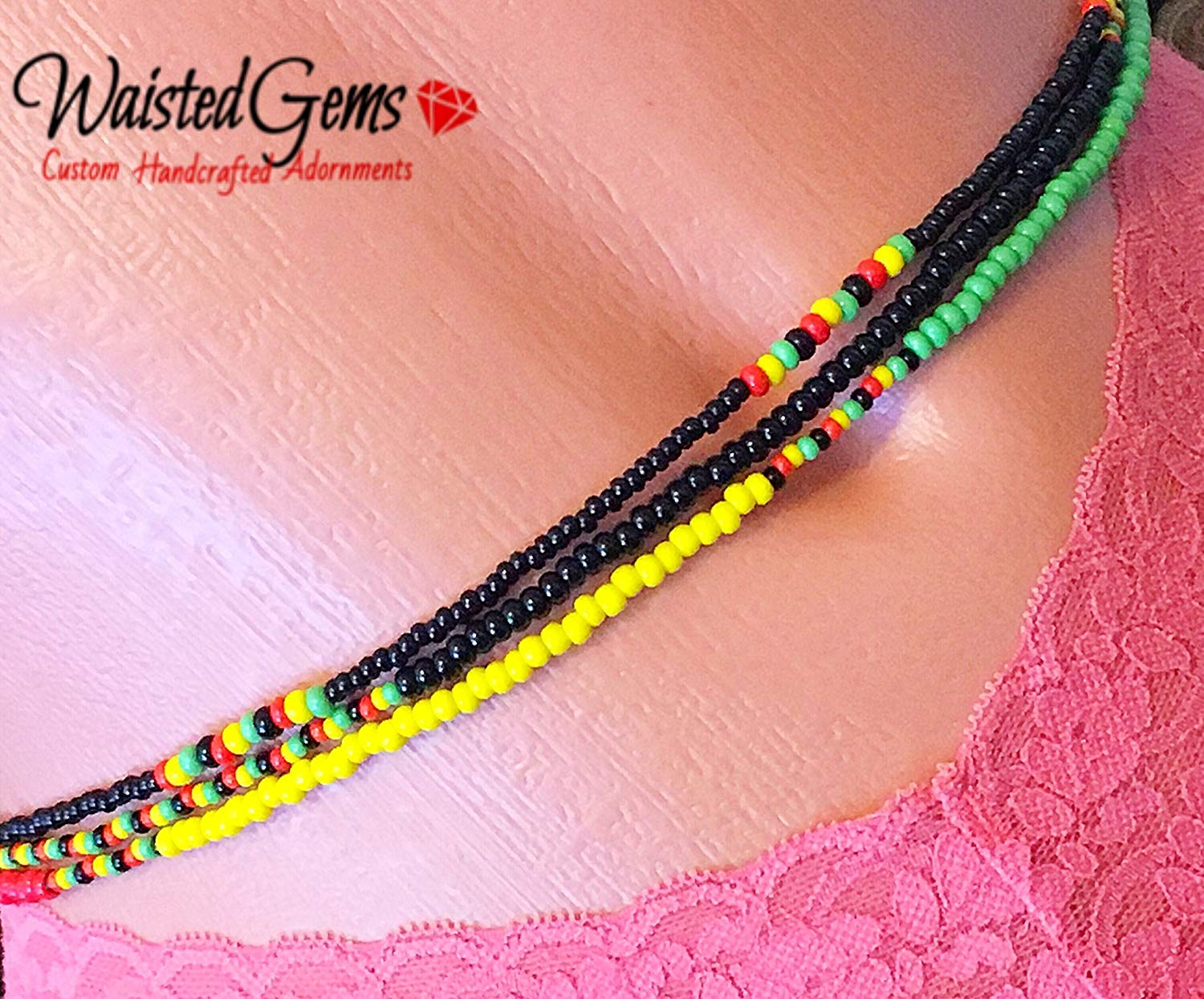 Anklet magnetic Chains African Beads Jamaican Rasta Style Beaded Necklace