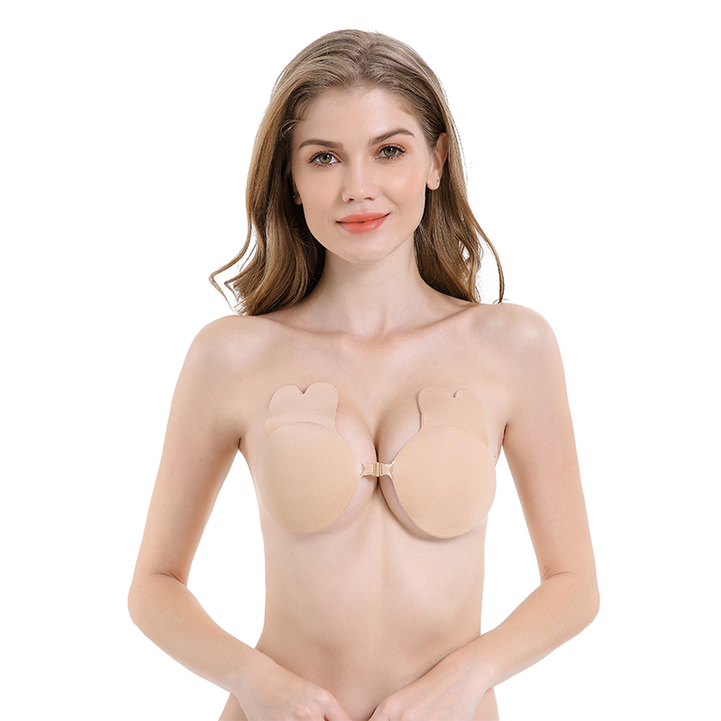 2020 Latest Strapless Bra Front Closure Self-adhesive Nude Rabbit Ear Push Up Invisible Bra for Women