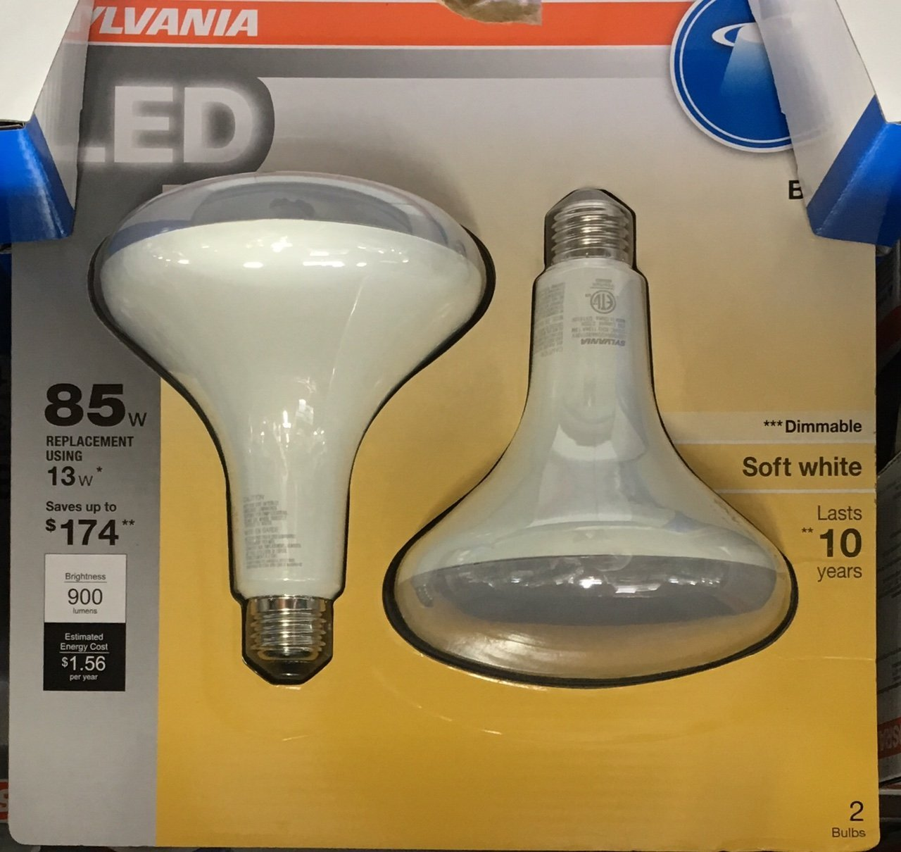 SYLVANIA 2-Pack Ultra 13-Watt (85W Equivalent) 2,700K BR40 Medium Base (E-26) Soft White Dimmable Indoor LED Flood Light Bulb