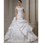 WD008 Plus Size Bride ball gown Design Silk Taffeta Off shoulder Appliqued Lace Slim Pleated Dress Lace up wedding dress