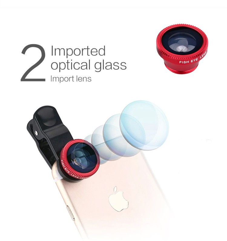3 in 1 Clip Mobile Phone Lenses Fish Eye Wide Angel Macro Universal Camera Lens For iPhone 6 6s Samsung Xiaomi Redmi