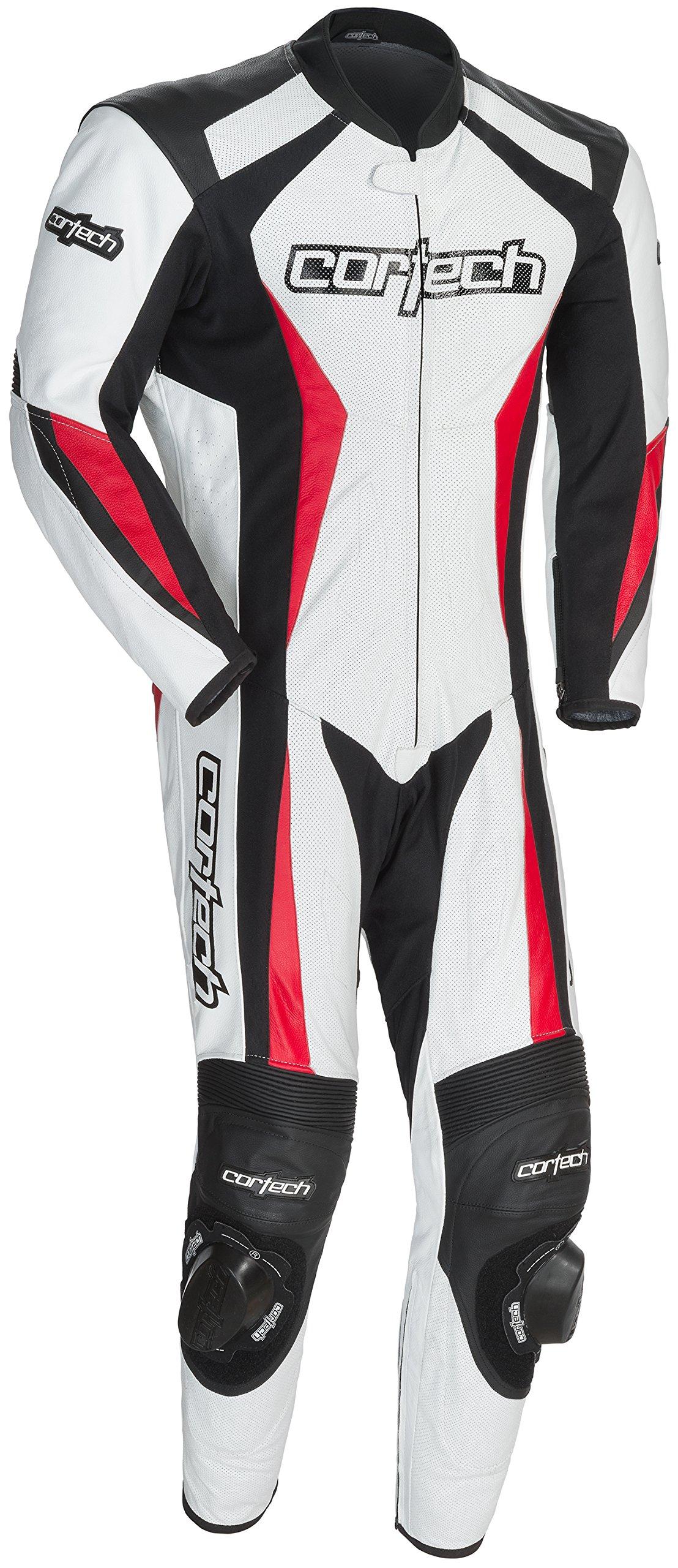 Cortech XF-10-8991-0209-08 Latigo 2.0 Leather RR One-Piece Suit, Distinct Name: White/Black/Red, Gender: Mens/Unisex, Primary Color: White, Size: 2XL