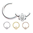316L Surgical Steel Flower design Hinged segment ring Nose Piercing Body Jewelry