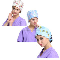 Disinfectant reusable doctor surgical use100% cotton medical scrub cap