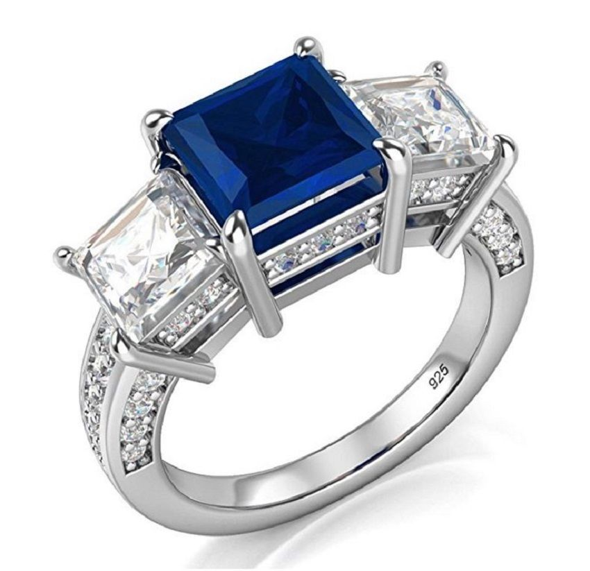 princess cut cz 3 stone sterling silver anniversary ring