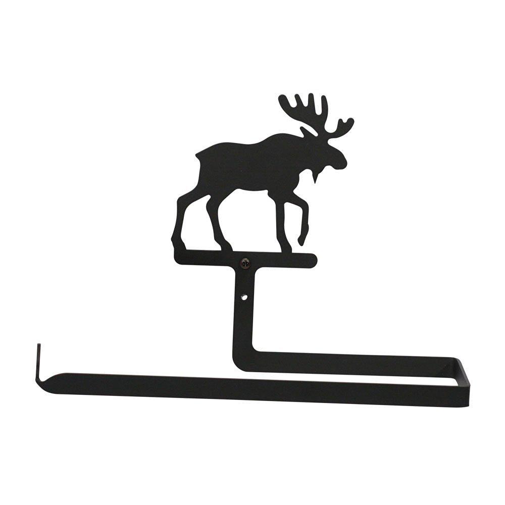 Village Wrought Iron Moose Paper Towel Holder Horizontal Wall Mount