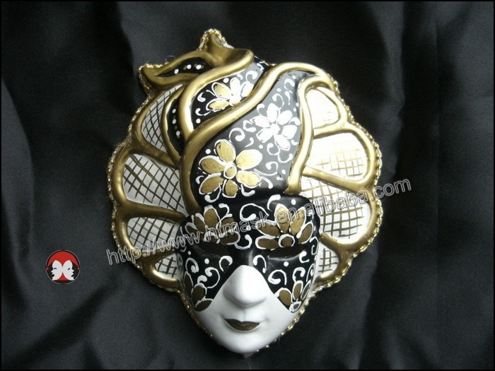 japanese mask to face MARDI GRAS ceramic MASK blue queen ORLEANS handmade WALL DECOR