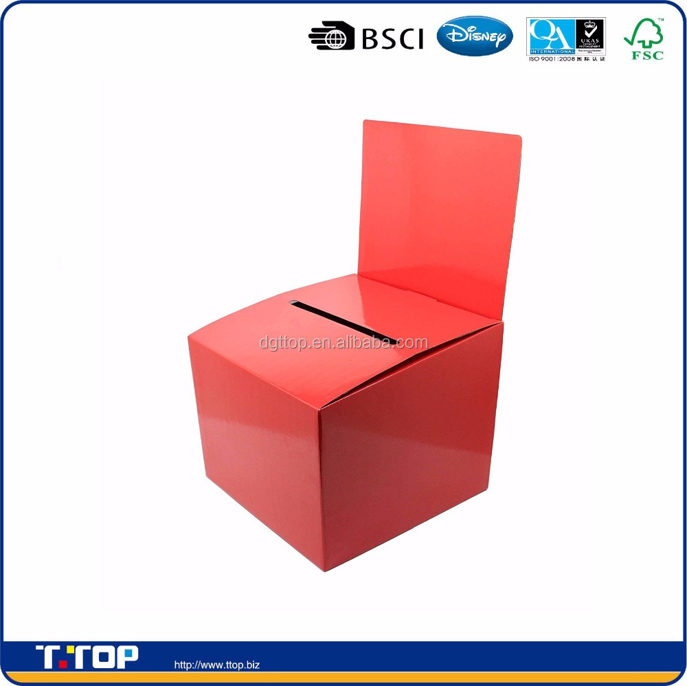 Fixture Displays Set of 7 Cardboard Ballot Box with Removable Header