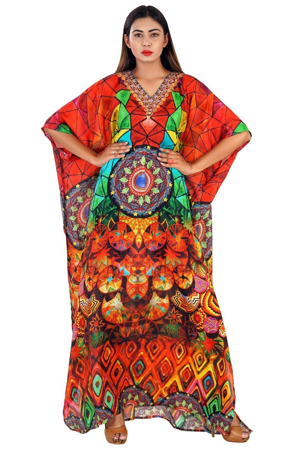 21165d2356 Get Quotations · Heavily emblleshed maxi beach caftan long dressy/silk  kaftan beach and resort wear hand made