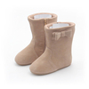 Rubber Sole Kids Winter Shoes Suede Leather Children's Boots