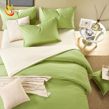 Simple cotton solid color four-piece set of plain double spell 1.5/1.8m bedding 1.2m college dormitory three pieces