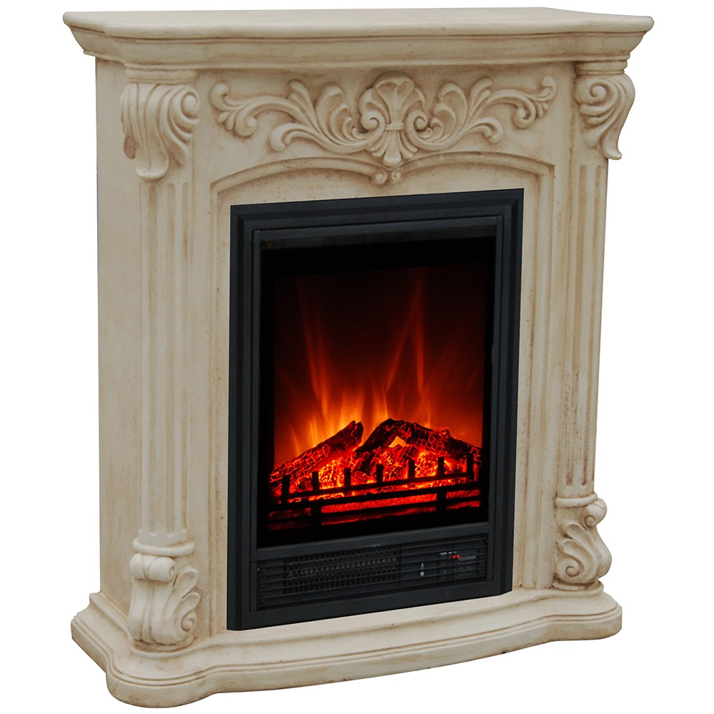 French Style Luxury White Antique Electric Fireplace With