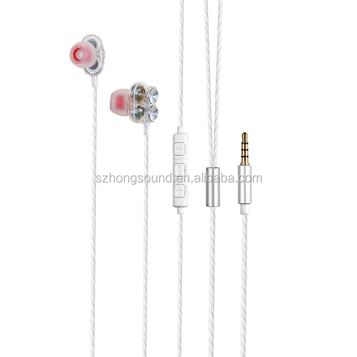 Fashion And Hot Selling In Ear Double Driver Wired Earphone Headset Headphones Earphone For Mp3,Mp4,Mobile Phone
