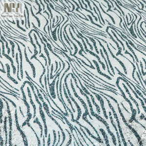 Nanyee Textile Black White Heat Transfer Zebra Print Sequin Fabric