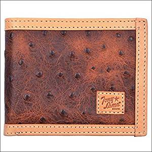 TONY LAMA BROWN LEATHER OSTRICH PRINT TRIM WESTERN BIFOLD MENS WALLET