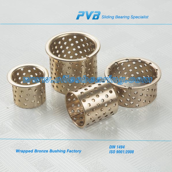 bronze bearing with lubrication pockets,Good anti-abrasion oiless bushing,Maintenance free wrapped bush