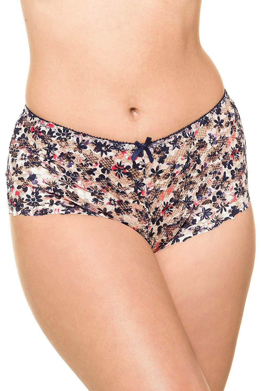 Get Quotations · Ulla Popken Women s Plus Size Floral Print Lace Hipster  Panties 715660 e69390469