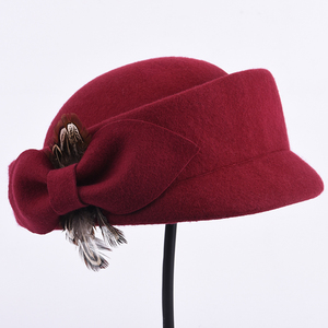 Fashion Custom Soft Touch Ladies Red German Wool Felt Hat