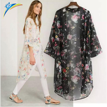 28abef92f China factory good model long chiffon kimono blouse printed half sleeve  women lady cappa blouse