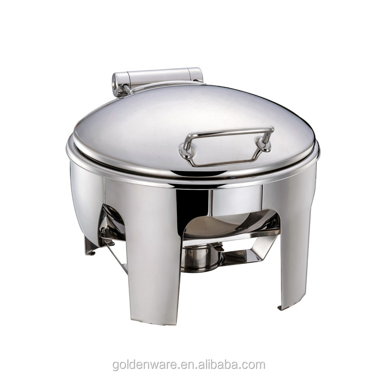 Golden Ware High Mirror Polishing Stainless Steel buffet electric hydraulic roll top Round chafing dish food warmer
