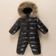 waterproof Warm fur hood duck down boys girls romper for russian winter kids baby snowsuit overalls jumpsuit outfit fashion