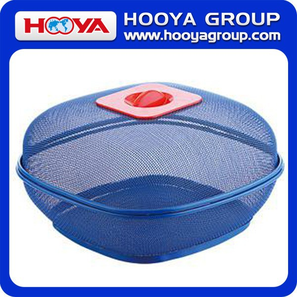 28.5*28.5CM SQUARE PLASTIC COATED WIRE FRUIT BASKET WITH COVER