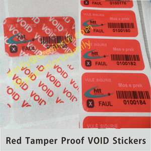 Custom numbered warranty void labels,warranty void if removed barcode void stickers,tamper proof void sticker seal with barcode