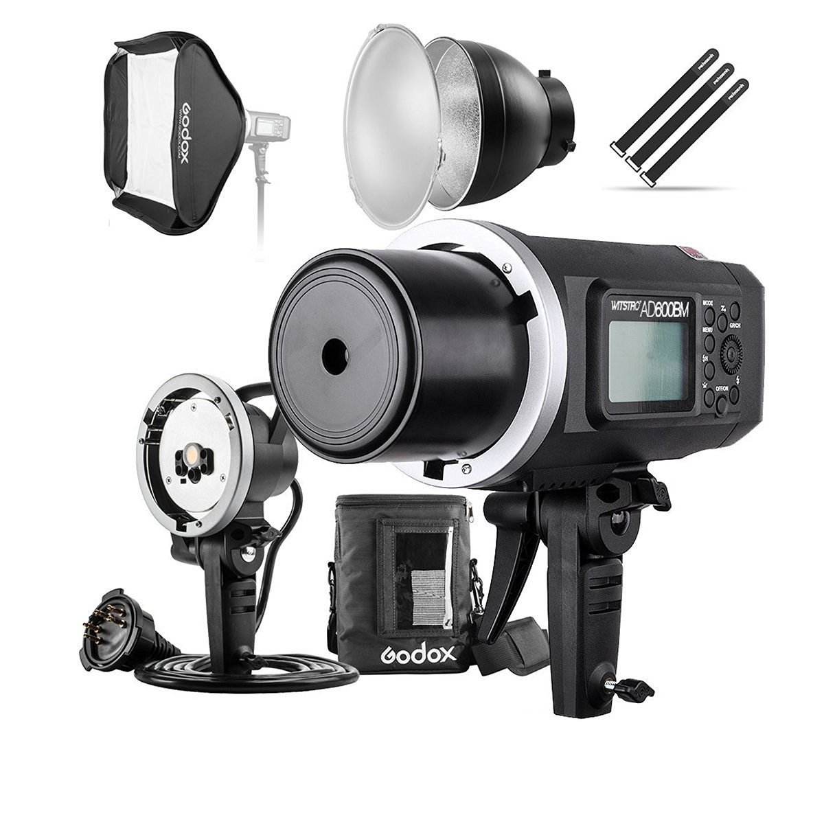 "Godox AD600BM 600Ws GN87 HSS Flash Strobe Monolight with 8700mAh Battery, 600W Portable Lamp Flash Head, 23""X23"" Flash Softbox, 7"" Standard Reflector, 7"" Flash Diffuser and Portable Flash Bag"