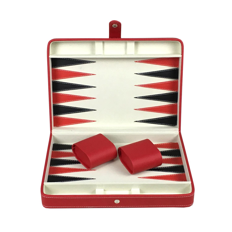 Design unico Classico Logo Personalizzato Portatile di Marmo Sembra In Pelle Fatti A Mano Backgammon