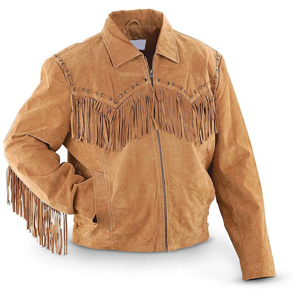 Leather jacket with fringe - Chamois Distressed Brown Leather Jacket Men Fringe