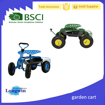 Gas Lift Rolling Garden Caddy Tractor Style Work Seat On Wheels