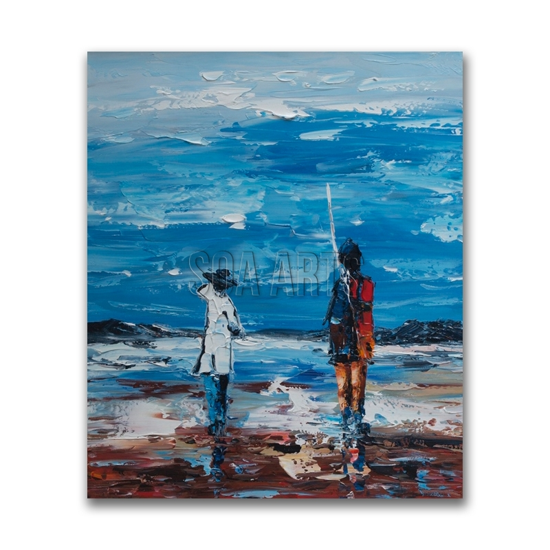 Kids on the Beach Abstract Oil Painting