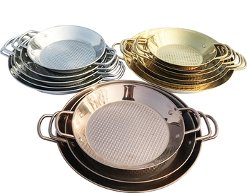 Reliable Quality Stainless Steel Rose Golden Coating mirror finished Paella Pan Frying Omlette Pan