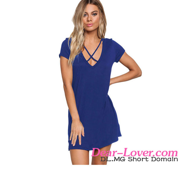 Wholesale Blue Jersey Knit Cross Strap Tunic Top Short Dress