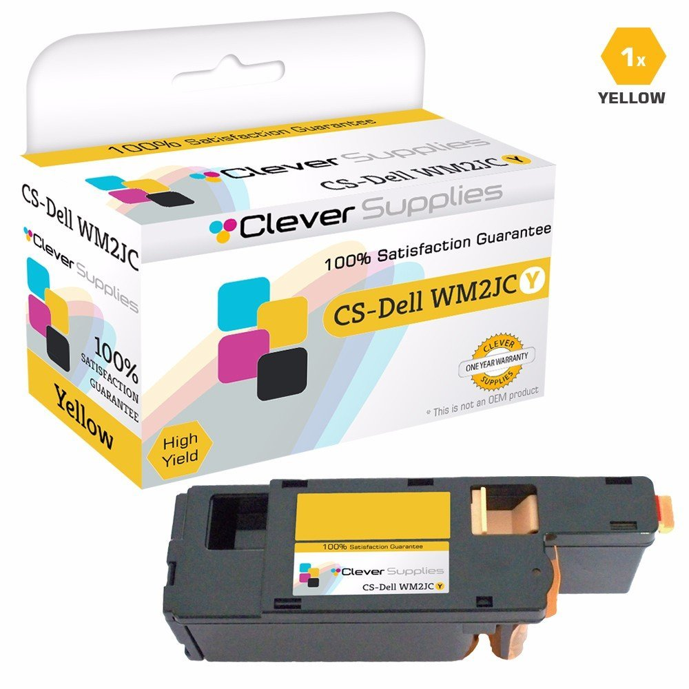 Clever Supplies© Compatible Replacement Toner Cartridges Yellow for Dell 1250 (WM2JC), 1250, 1250c, 1350, 1350cnw, C1760, C1760nw, C1765, C1765nf, C1765nfw, 1355CN, 1355CNW