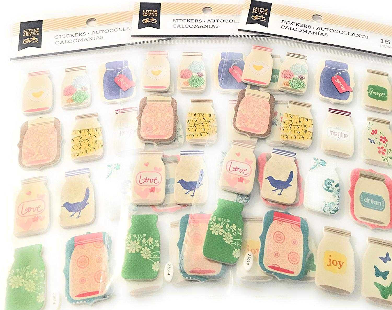 48 Pieces! Foam Jars 3-Dimensional Paper Craft Stickers Kit | Scrapbooking, Planners & More