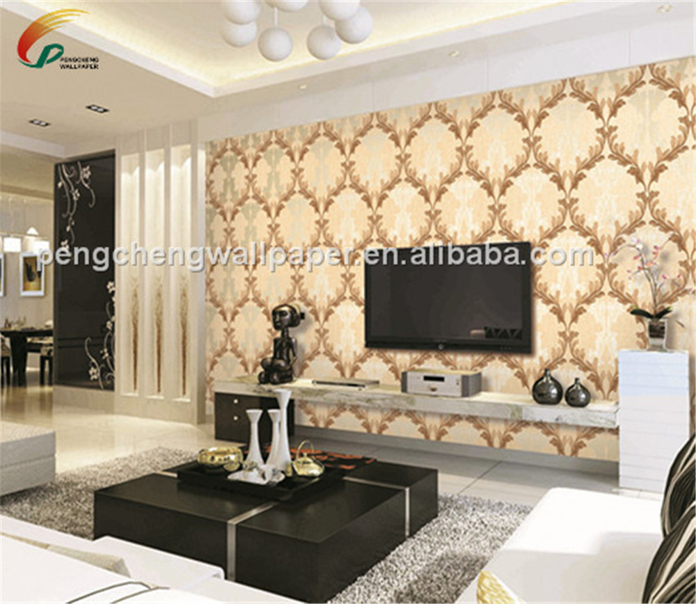 Vintage Luxury Damask Wall Paper Pvc Embossed Textured Wallpaper