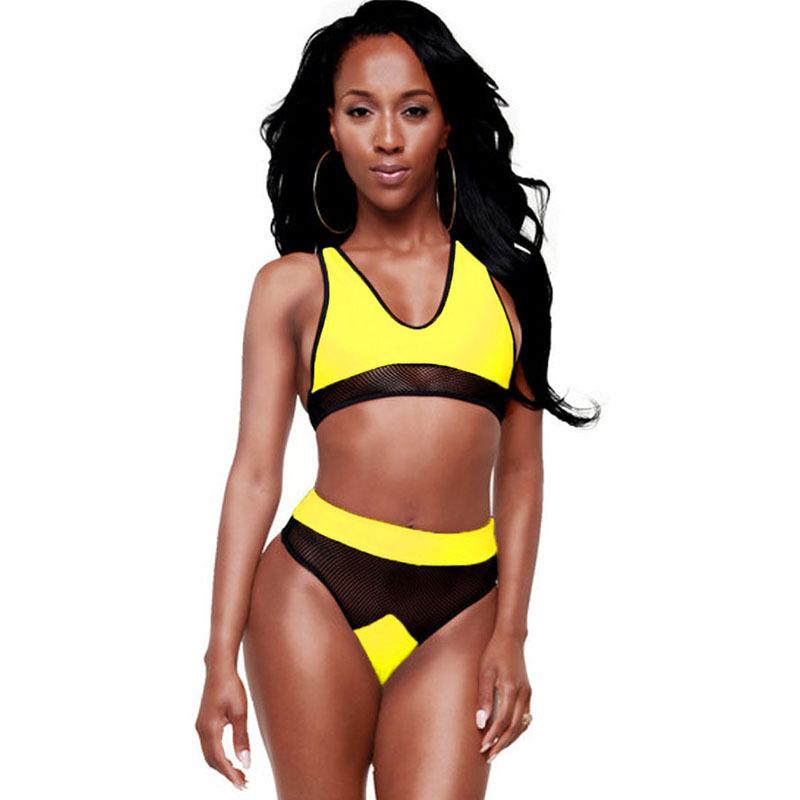 b2cdee9f939ca Get Quotations · Women 2015 Mesh Patchwork V-Neck Tank Top High Waist  Swimsuit Bikini Brazilian Bathing Suits