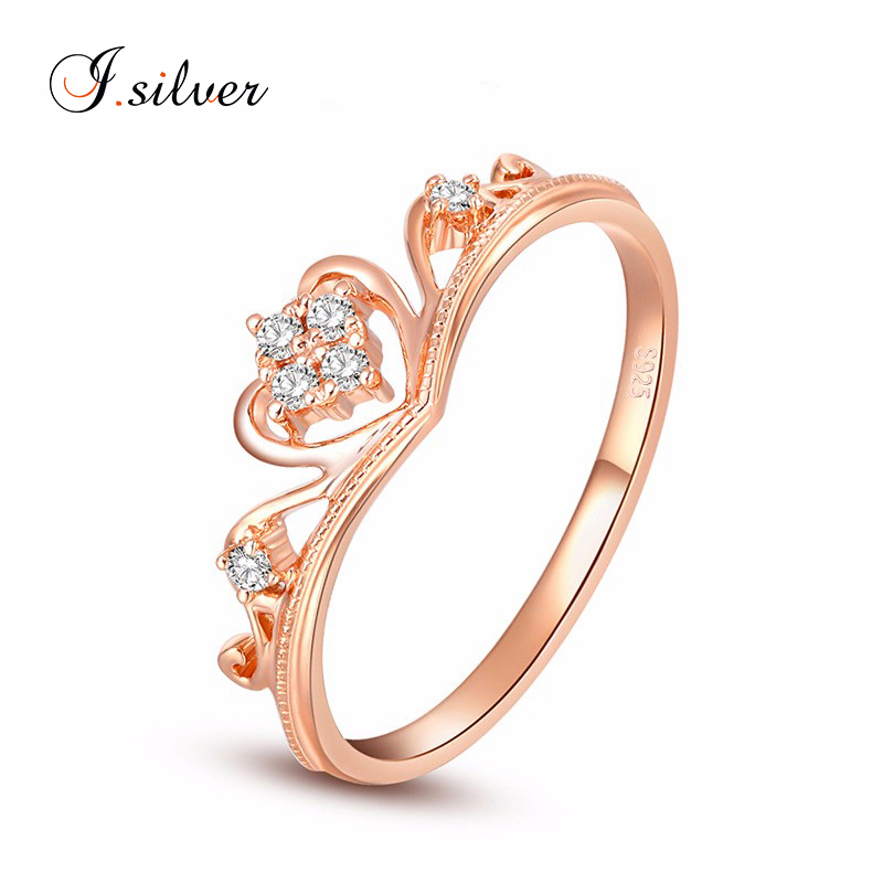 2018 Wholesale crown 925 sterling silver <strong>rings</strong> with rose gold for women R30110