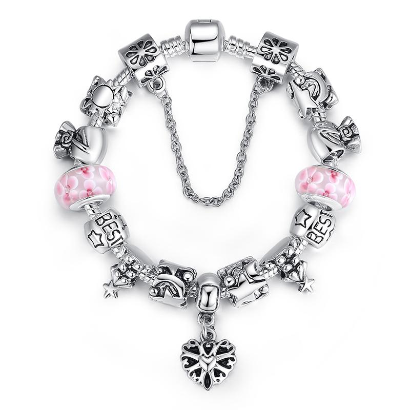 Pandora Type Jewelry: 925 Silver Heart Pendant Fit Pandora Style Bracelet Silver