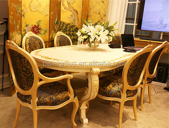 Luxury High Quality Rococo Solid Wood Carved Dining Table Set With Armchairs BF11 05051b