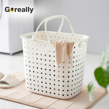 Whole Commercial Recycled White Plastic Washing Dirty Clothes Laundry Basket With Handles